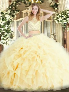 Sumptuous Tulle Sleeveless Floor Length 15th Birthday Dress and Beading and Ruffles