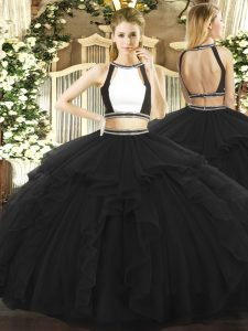 Floor Length Backless Sweet 16 Dresses Black for Military Ball and Sweet 16 and Quinceanera with Ruffled Layers