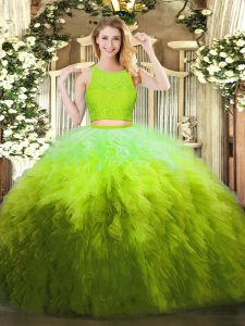 Most Popular Scoop Sleeveless Quinceanera Dresses Floor Length Lace and Ruffles Olive Green Organza