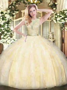 Artistic Floor Length Light Yellow Sweet 16 Dress Organza Sleeveless Lace and Ruffles