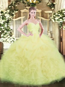 Fitting Floor Length Light Yellow Vestidos de Quinceanera Organza Sleeveless Beading and Ruffles