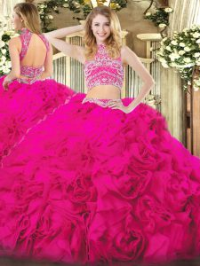 Decent Hot Pink Sleeveless Tulle Backless Quinceanera Gowns for Military Ball and Sweet 16 and Quinceanera and Beach