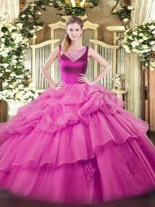 Scoop Sleeveless 15 Quinceanera Dress Floor Length Beading and Appliques Lilac Organza