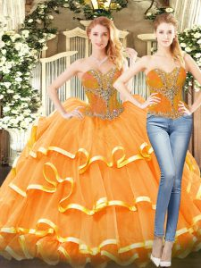 Custom Made Sweetheart Sleeveless Lace Up Sweet 16 Quinceanera Dress Orange Red Organza