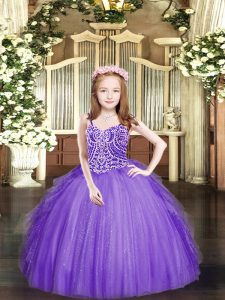 Lavender Ball Gowns Beading and Ruffles Little Girls Pageant Dress Lace Up Tulle Sleeveless Floor Length