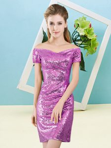 Lilac Zipper Prom Dress Sequins Short Sleeves Mini Length