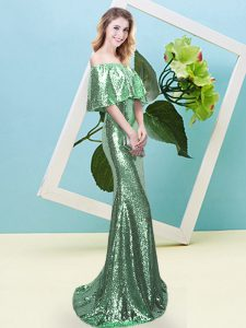 Superior Short Sleeves Floor Length Sequins Zipper Evening Dress with Turquoise