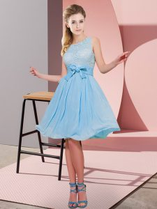 Affordable Knee Length Side Zipper Quinceanera Court of Honor Dress Aqua Blue for Prom and Party with Lace and Bowknot
