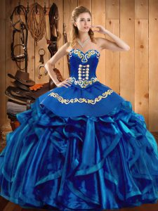 Floor Length Blue Quinceanera Gown Organza Sleeveless Embroidery and Ruffles