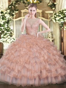 Peach Sleeveless Floor Length Beading and Ruffled Layers Backless 15 Quinceanera Dress