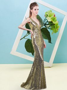 Customized V-neck Sleeveless Prom Dresses Floor Length Sequins Yellow Sequined