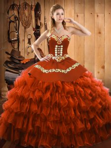 Smart Rust Red Lace Up Sweetheart Embroidery and Ruffled Layers Quinceanera Gown Satin and Organza Sleeveless
