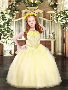 Light Yellow Ball Gowns Beading Child Pageant Dress Zipper Organza Sleeveless Floor Length