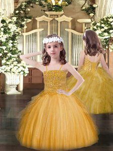 Gold Tulle Lace Up Pageant Dress Toddler Sleeveless Floor Length Beading and Ruffles