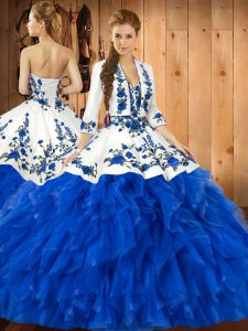 Custom Fit Sleeveless Floor Length Embroidery and Ruffles Lace Up Ball Gown Prom Dress with Blue