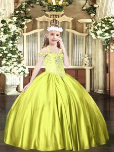 Floor Length Yellow Green Pageant Dresses Off The Shoulder Sleeveless Lace Up