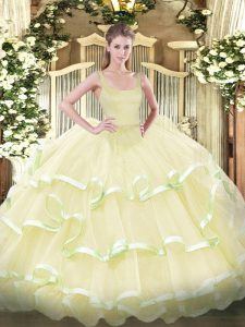 Affordable Organza Sleeveless Floor Length Ball Gown Prom Dress and Beading and Ruffled Layers