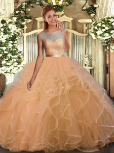 Fancy Ball Gowns Quinceanera Gown Peach Scoop Tulle Sleeveless Floor Length Backless