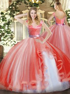 Unique Ball Gowns Quinceanera Gowns Watermelon Red V-neck Organza Sleeveless Floor Length Zipper