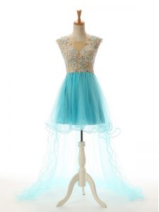 Sleeveless Tulle High Low Backless Evening Dress in Aqua Blue with Appliques