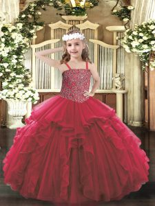 Best Sleeveless Lace Up Floor Length Beading and Ruffles Kids Pageant Dress