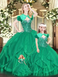 Cheap Turquoise Sweet 16 Dresses Military Ball and Sweet 16 and Quinceanera with Beading and Ruffles Sweetheart Sleeveless Lace Up