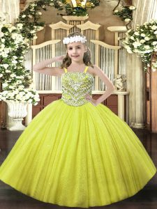 Yellow Tulle Lace Up Straps Sleeveless Floor Length Little Girls Pageant Dress Beading