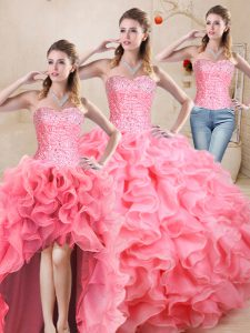 Free and Easy Sweetheart Sleeveless Organza Sweet 16 Quinceanera Dress Beading and Ruffles Lace Up