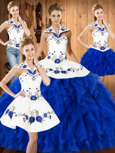 Blue And White Ball Gowns Halter Top Sleeveless Satin and Organza Floor Length Lace Up Embroidery and Ruffles 15th Birthday Dress