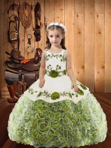 Dramatic Multi-color Ball Gowns Fabric With Rolling Flowers Straps Sleeveless Embroidery and Ruffles Floor Length Lace Up Little Girls Pageant Dress Wholesale