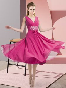 Knee Length Hot Pink Court Dresses for Sweet 16 V-neck Sleeveless Side Zipper