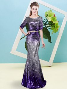 Stylish Multi-color Half Sleeves Floor Length Sequins and Belt Zipper Dress for Prom