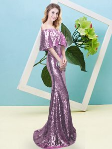 Custom Fit Lilac Zipper Off The Shoulder Sequins Homecoming Dress Sequined Half Sleeves