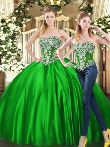 Elegant Floor Length Two Pieces Sleeveless Green Quince Ball Gowns Lace Up