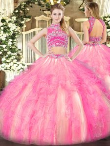 Beauteous High-neck Sleeveless Tulle 15 Quinceanera Dress Beading and Ruffles Backless