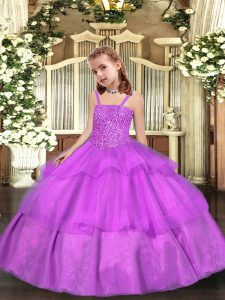 Lilac Ball Gowns Straps Sleeveless Organza Floor Length Lace Up Beading and Ruffled Layers Pageant Dress Toddler