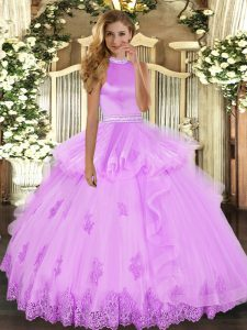 Floor Length Lilac 15th Birthday Dress Tulle Sleeveless Beading and Ruffles