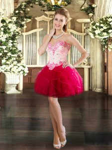 Sleeveless Tulle Mini Length Lace Up Prom Party Dress in Red with Beading and Ruffles