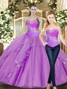 Gorgeous Floor Length Lilac 15 Quinceanera Dress Tulle Sleeveless Beading