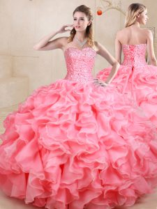 New Arrival Ball Gowns Quinceanera Gown Watermelon Red Sweetheart Organza Sleeveless Floor Length Lace Up