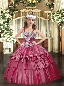 Hot Pink Organza Lace Up Little Girl Pageant Gowns Sleeveless Floor Length Appliques and Ruffled Layers