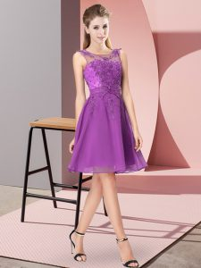 Colorful Eggplant Purple Chiffon Zipper Scoop Sleeveless Knee Length Quinceanera Court Dresses Appliques