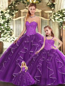 Purple Ball Gowns Sweetheart Sleeveless Organza Floor Length Lace Up Beading and Ruffles Quinceanera Dresses
