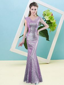 Captivating Cap Sleeves Sequined Floor Length Zipper Dress for Prom in Lilac with Sequins