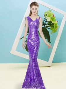 Floor Length Lavender Prom Gown Asymmetric Sleeveless Zipper