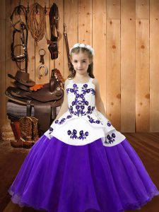 Elegant Sleeveless Organza Floor Length Lace Up Little Girl Pageant Dress in Purple with Embroidery
