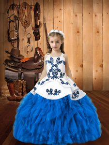 Blue Organza Lace Up Straps Sleeveless Floor Length Little Girls Pageant Dress Embroidery and Ruffles