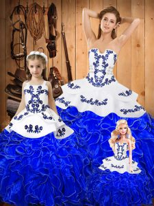 Dazzling Sleeveless Tulle Floor Length Lace Up Sweet 16 Dresses in Royal Blue with Embroidery and Ruffles