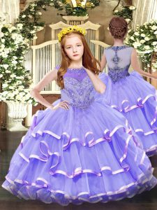 Lavender Organza Zipper Scoop Sleeveless Floor Length Little Girl Pageant Gowns Beading and Ruffled Layers