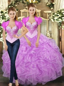 Top Selling Lilac Ball Gowns Tulle Straps Sleeveless Beading and Ruffles Floor Length Lace Up Sweet 16 Dress